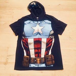 Adult Captain America Short Sleeve Hooded Shirt